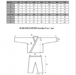 Karategi BUDO bawełna 8oz + pas